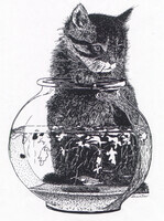 Kitten and Fish Bowl   Dorothy dhunter Adams