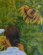 Busy Painting Sunflowers - SOLD