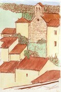 Cucugnan France Watercolour Study