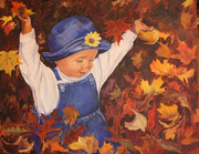Playing in the Leaves  SOLD