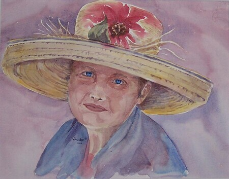 Mary and Her Beautiful Hat  SOLD