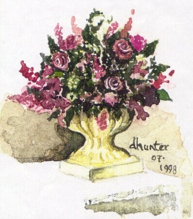 Watercolour   Vase of Flowers   mini card   Dorothy dhunter Adams